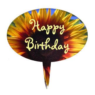 Brilliant Sunflower Happy Birthday Cake Pick