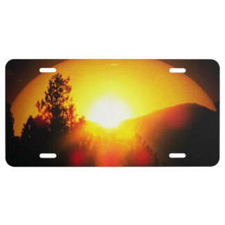 Brilliant Sunset and Pine Tree Over Mountains License Plate