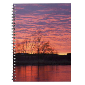 Brilliant sunset reflects into the Calamus River Spiral Note Book