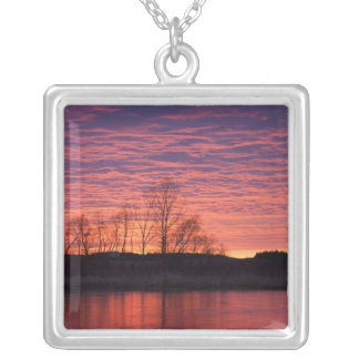 Brilliant sunset reflects into the Calamus River Silver Plated Necklace