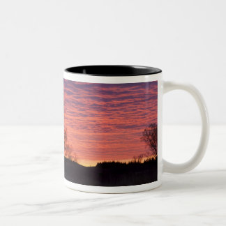 Brilliant sunset reflects into the Calamus River Two-Tone Coffee Mug