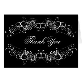 Brilliant Swirls in White Thank You Blank Notecard Stationery Note Card