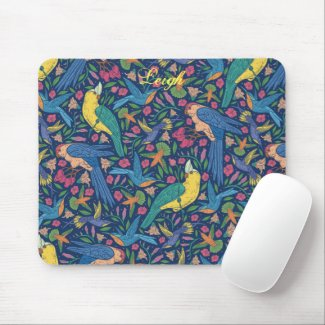 Brilliant Tropical Birds and Flowers Mousepad
