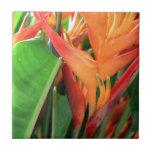 Brilliant Tropical Heliconia Florals Ceramic Tiles