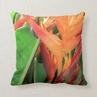 Brilliant Tropical Heliconia Florals Throw Pillow