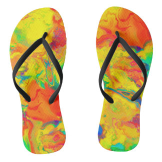 Brilliant Yellow and Orange Abstract Flip Flops