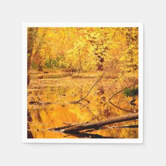 Brilliant yellow reflecting Pond Paper Napkins