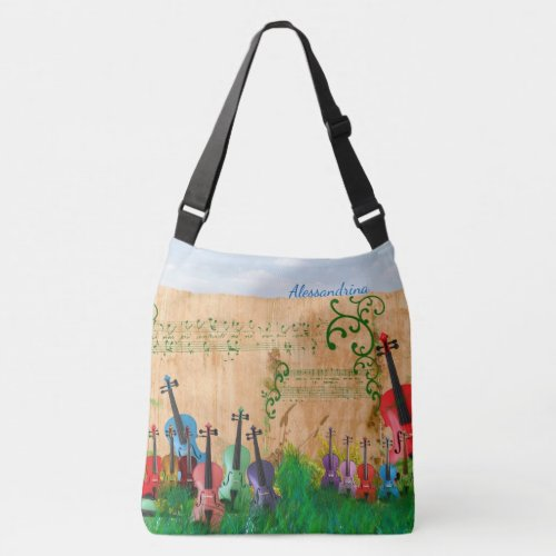 Brilliantly-Colored Violin Garden with Name Option Crossbody Bag