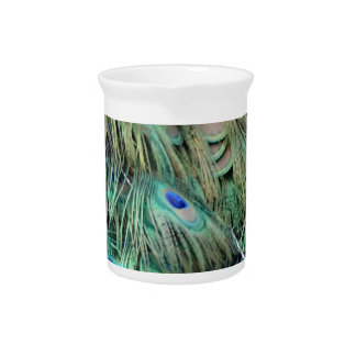 Brilliantly Peafowl Feathers Cool Eye Spots Beverage Pitcher