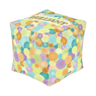 Brilliants redondo brillante - ilustrado puff cuadrado