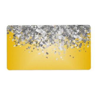 Brillo amarillo y falso brillante etiquetas de envío