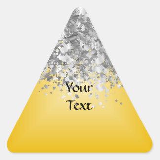 Brillo amarillo y falso brillante pegatina triangular