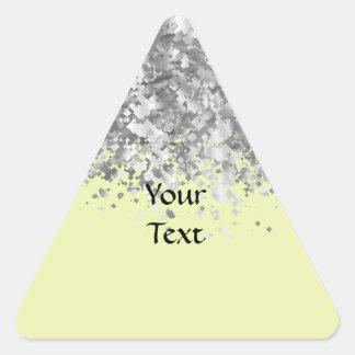 Brillo amarillo y falso poner crema personalizado pegatina triangular