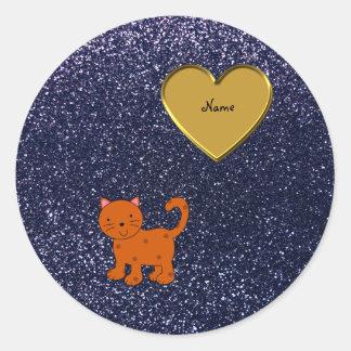 Brillo anaranjado conocido personalizado de los pegatina redonda