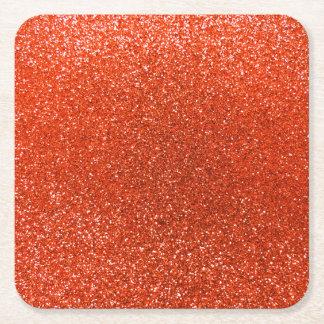 Brillo anaranjado de neón posavasos personalizable cuadrado