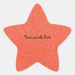 Brillo anaranjado calcomania forma de estrella personalizada