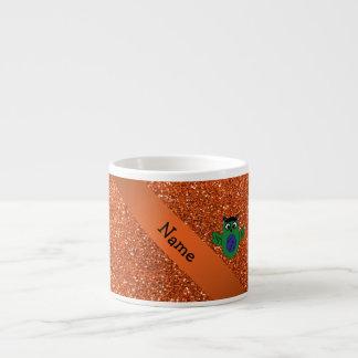 Brillo anaranjado personalizado del frankenstein c taza espresso