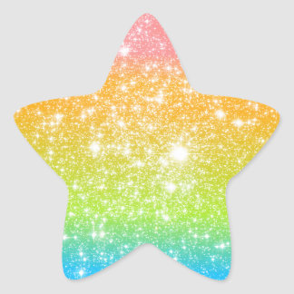 Brillo astral del arco iris en colores pastel pegatina en forma de estrella