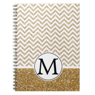 Brillo atractivo Chevron del oro falso Spiral Notebook