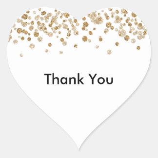 Brillo atractivo del confeti del oro pegatina en forma de corazón