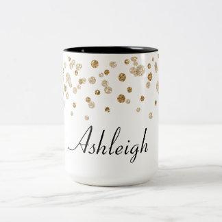 Brillo atractivo del confeti del oro taza de dos tonos
