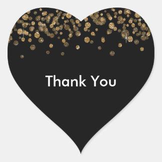 Brillo atractivo del confeti negro del oro pegatina en forma de corazón