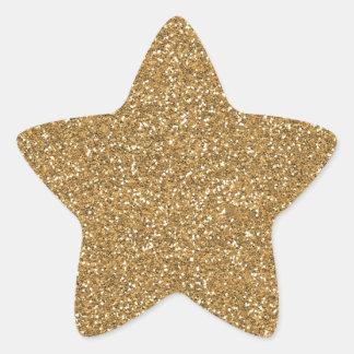 Brillo atractivo del oro falso pegatina en forma de estrella