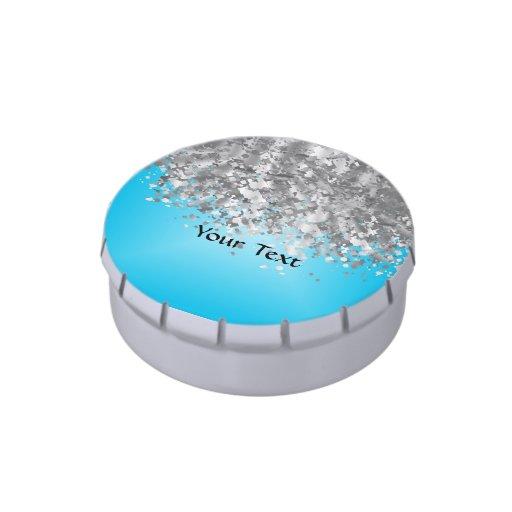 Brillo azul claro y falso frascos de dulces