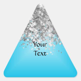 Brillo azul claro y falso pegatina triangular
