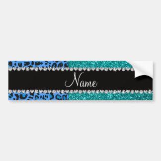 Brillo azul conocido personalizado de la turquesa  etiqueta de parachoque