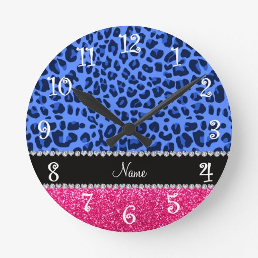 Brillo azul conocido personalizado del rosa del le reloj de pared