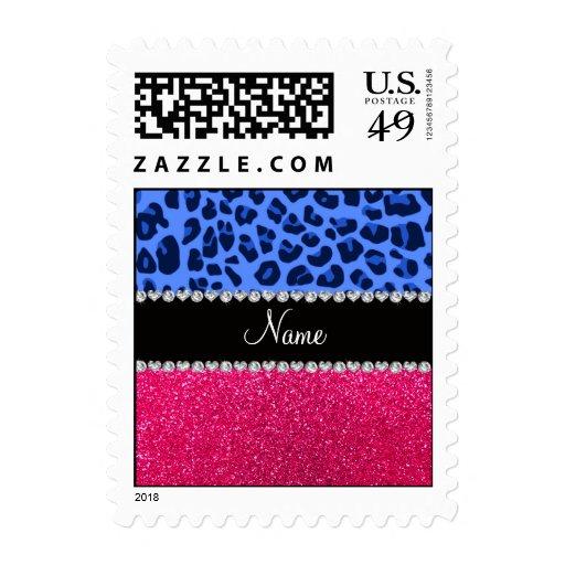 Brillo azul conocido personalizado del rosa del sellos