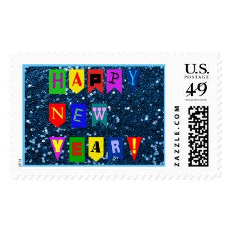 Brillo azul de la bandera de la Feliz Año Nuevo Timbres Postales