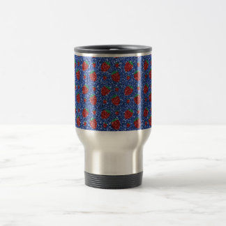 Brillo azul de la fresa taza de viaje de acero inoxidable