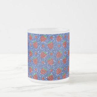 Brillo azul de la fresa taza cristal mate