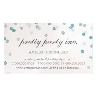 Brillo azul de la plata elegante del confeti de la tarjetas de visita