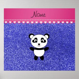 Brillo azul de neón personalizado de la panda póster