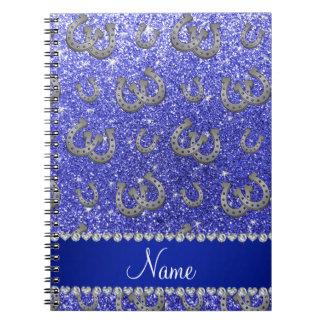 Brillo azul de neón personalizado de las libro de apuntes con espiral