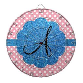 Brillo azul del monograma rosado de los lunares tablero de dardos