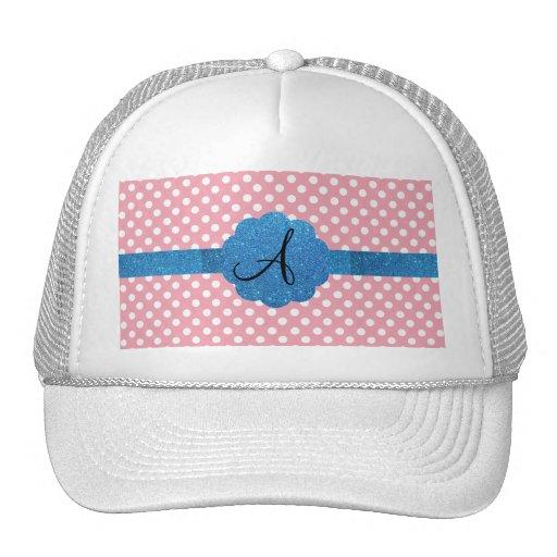Brillo azul del monograma rosado de los lunares gorros