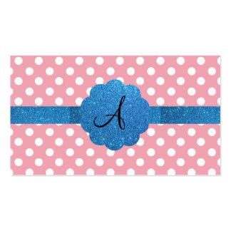 Brillo azul del monograma rosado de los lunares tarjetas de visita