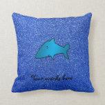 Brillo azul del tiburón azul cojin