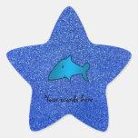 Brillo azul del tiburón calcomanias forma de estrella