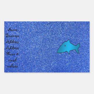 Brillo azul del tiburón pegatina rectangular