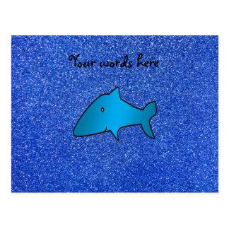 Brillo azul del tiburón tarjetas postales