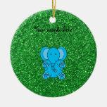 Brillo azul del verde del ornamento del navidad de ornamentos de navidad