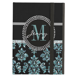 Brillo azul impreso damasco negro personalizado
