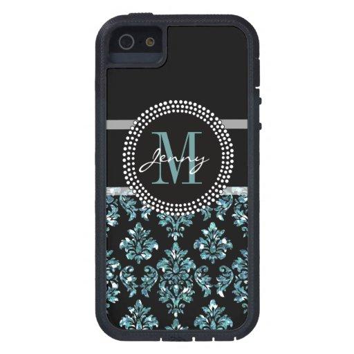 Brillo azul impreso, damasco negro personalizado funda iPhone SE/5/5s