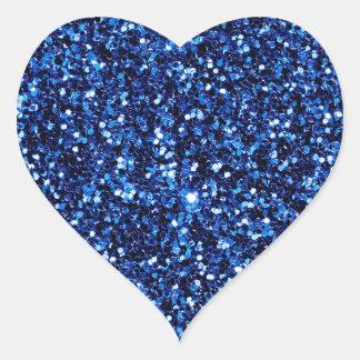 Brillo azul pegatina en forma de corazón
