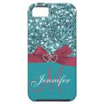 Brillo azul personalizado, arco impreso rosado iPhone 5 Case-Mate cobertura